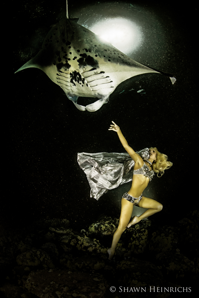 Hannah Fraser Reaches Out To a Manta Ray